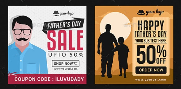 fathers day sale sample youtube banner ad template