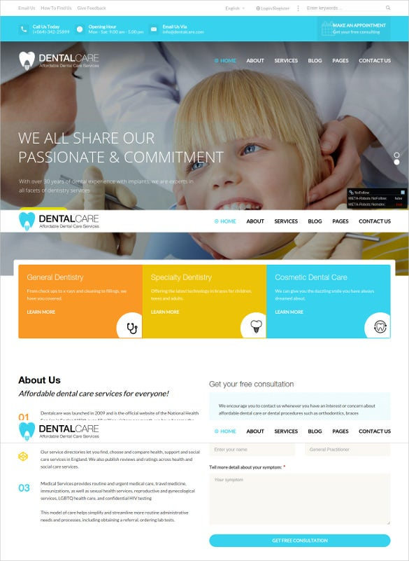 dentalcare health wordpress website theme