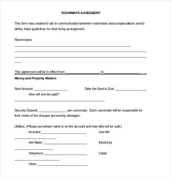 12+ Roommate Agreement Templates – Free Sample, Example, Format