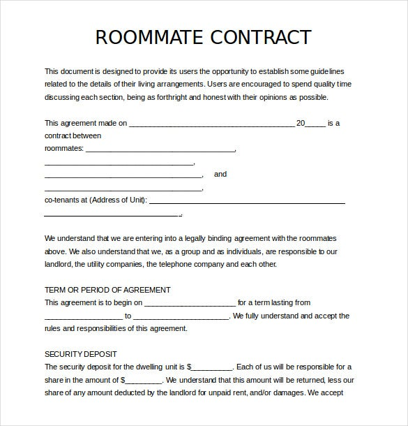 Roommate Agreement Template | 17 Roommate Agreement Templates Free Word Pdf Format