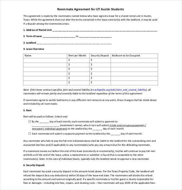 12 Roommate Agreement Templates Free Sample Example Format – Roommate Lease Agreement