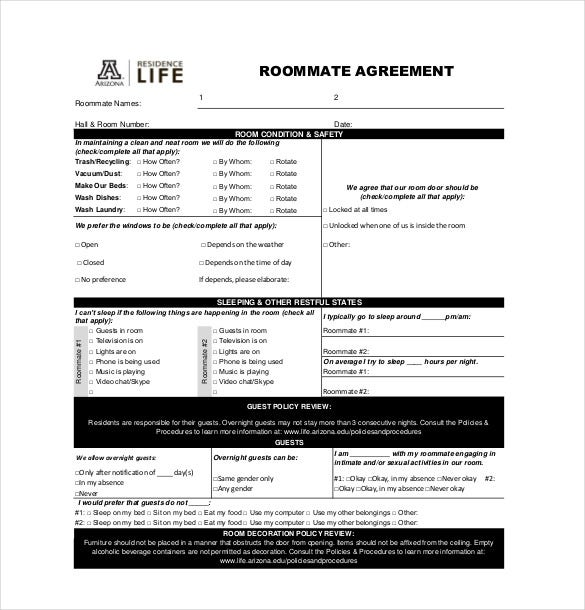 Roommate Agreement Templates  Free Sample Example Format