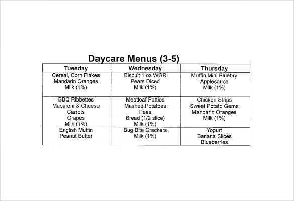 Daycare Menu Template  Free Printable Pdf Documents Download