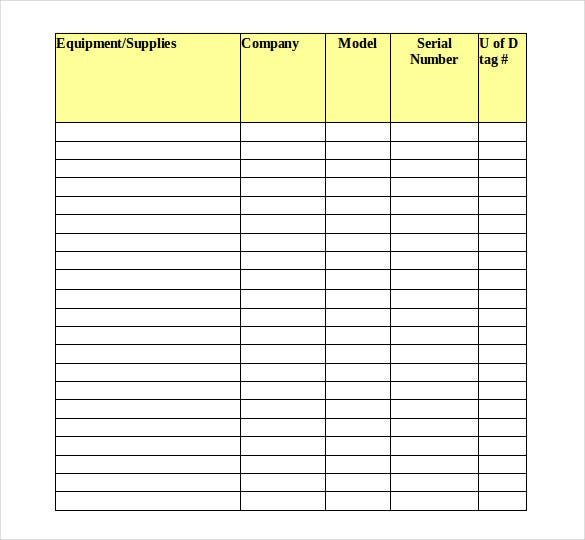 equipment inventory template download in excel format