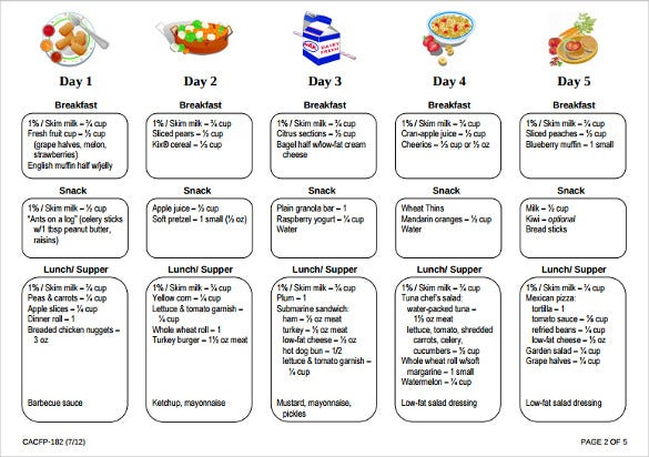 childcare menu free pdf template download