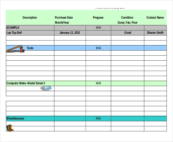 tool inventory template free download