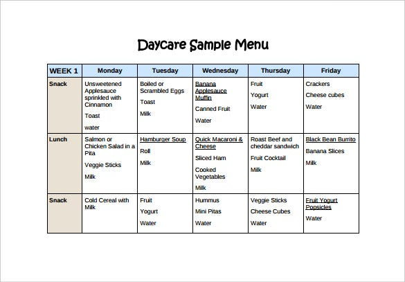 Daycare menu templates 11 free printable pdf documents for Blank daycare menu template