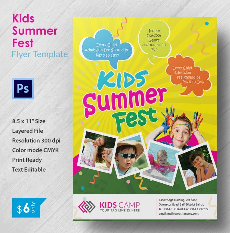 Perfect Kids Summer Fest Flyer Template Free Premium Templates - Fun brochure templates