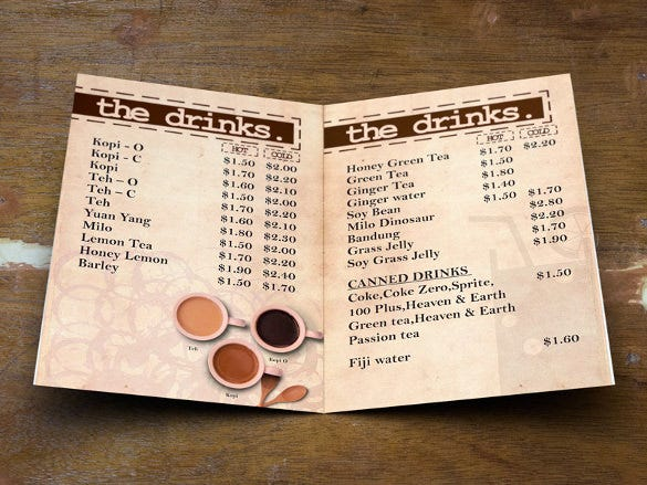 old school food and drinks menu template download