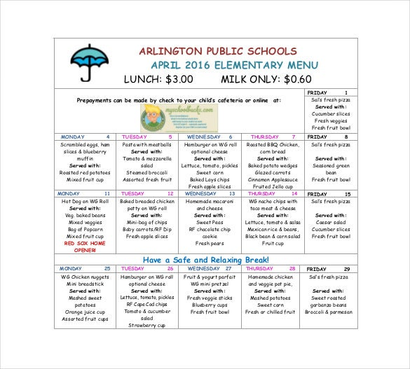 elementary school menu free template download