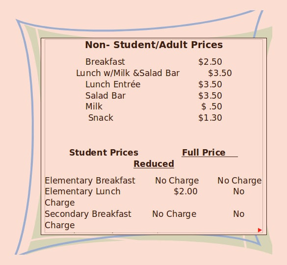 school meal prices list template download