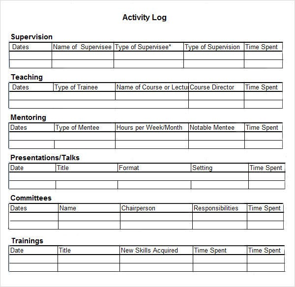 Activity Log Template 12 Free Word Excel PDF Documents – Time Log Template