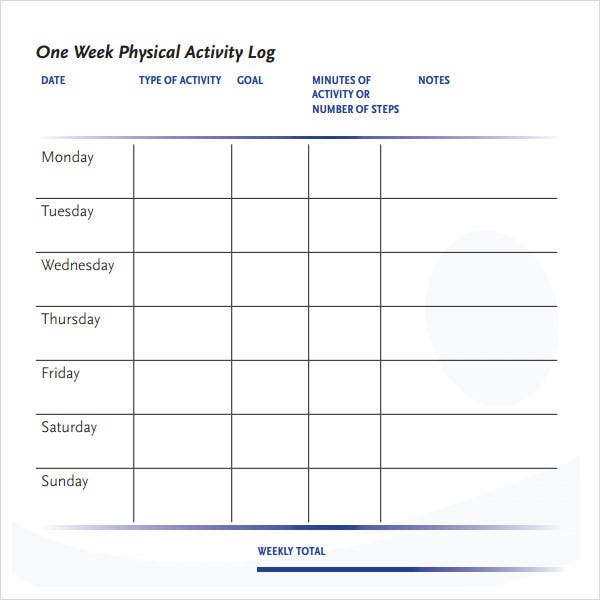 Attrayant Week Physical Activity Log Template