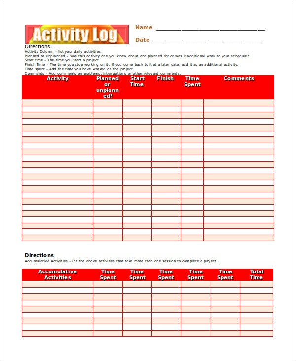 Activity Log Excel  Blank Calendars