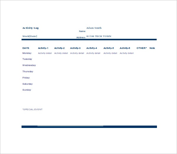 Business Activity Log Template Pictures to Pin – Activity Log Template