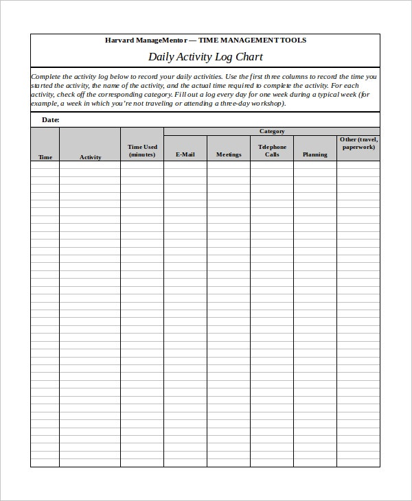 Daily Activity Log Chart Template Download
