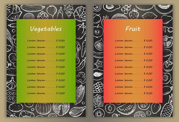 vegetables price menu template