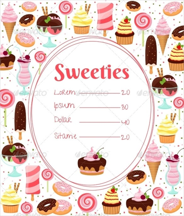 sweets price menu template