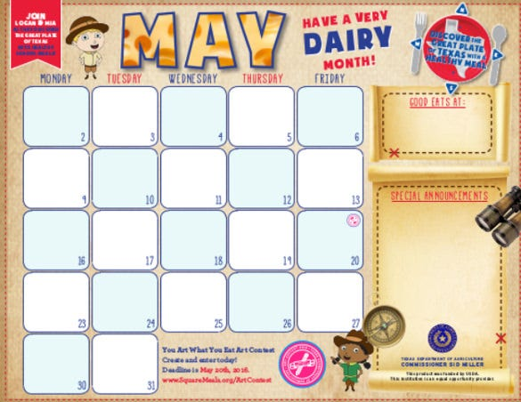 tda menu calendar free pdf template download