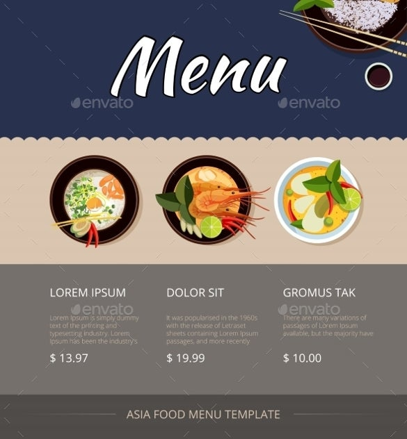 thai food price menu template