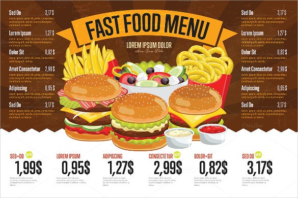 fast food price menu template