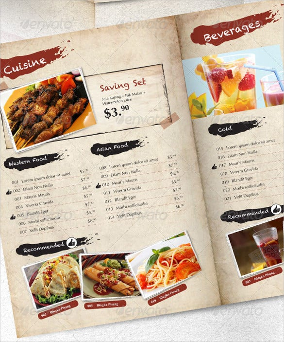 designed price menu template