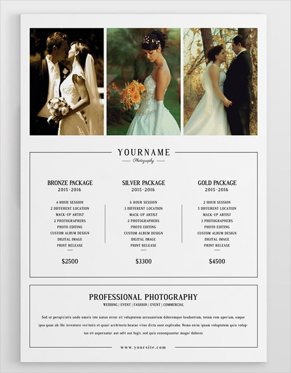 wedding price menu template