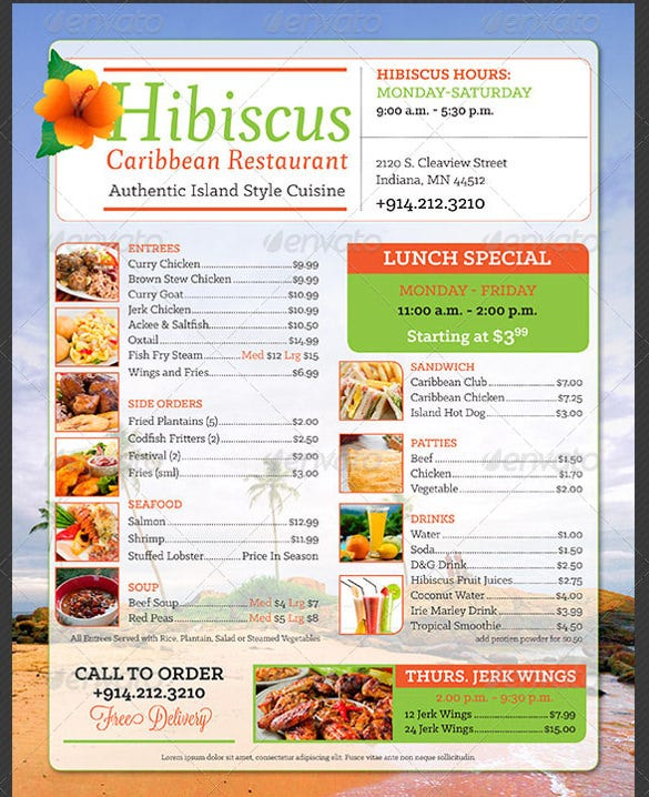 island food price menu template