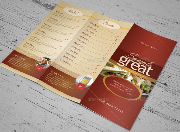 cafe price menu template