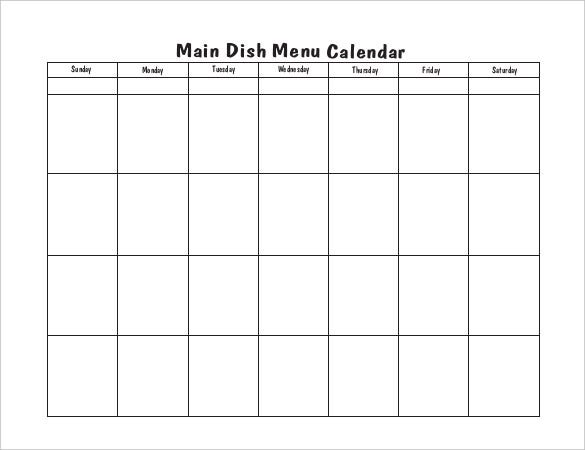 blank menu calendar template download