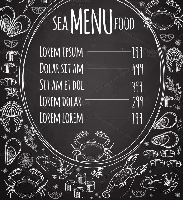 sea food price menu template