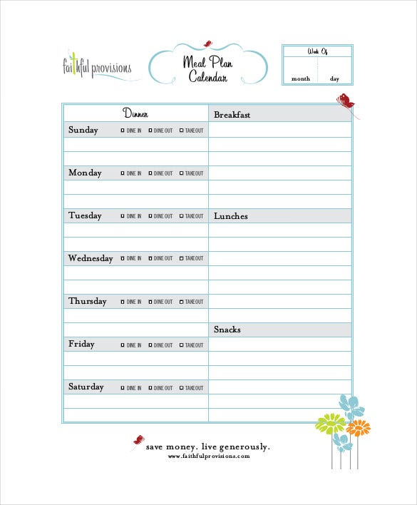 menu meal plan calendar template download