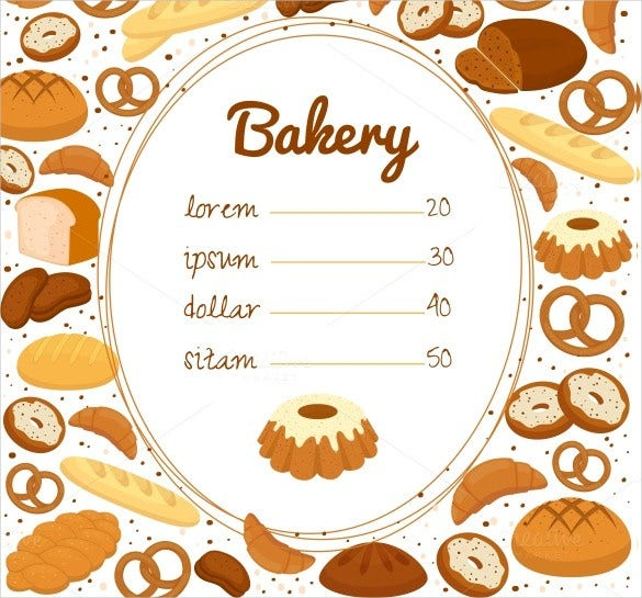 bakery price menu template