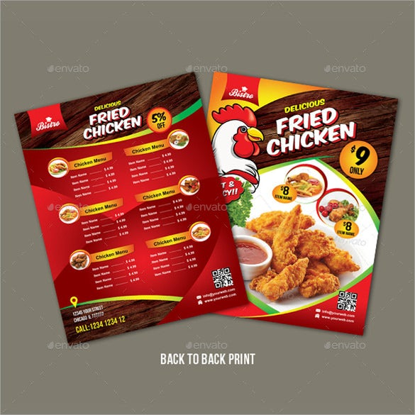 chicken price menu template