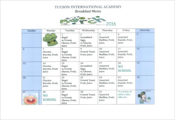 Tucsoninternationalacademy.com | For The Schools That Have Kids All Through  The Week, This Sample Menu Template Is Relevant. It Covers Every Day Of The  Week ...