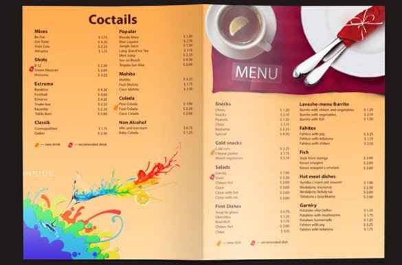 universal price menu template