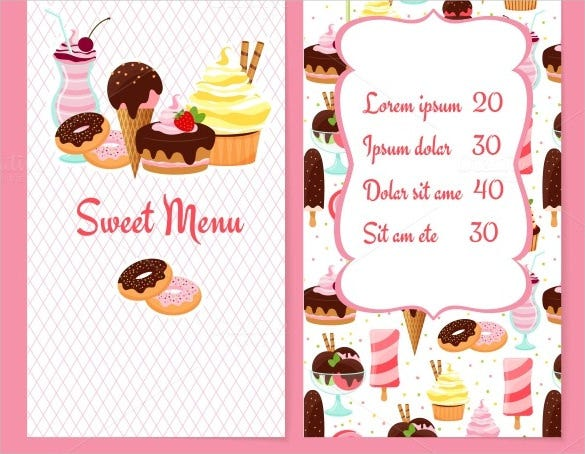 icecream price menu template