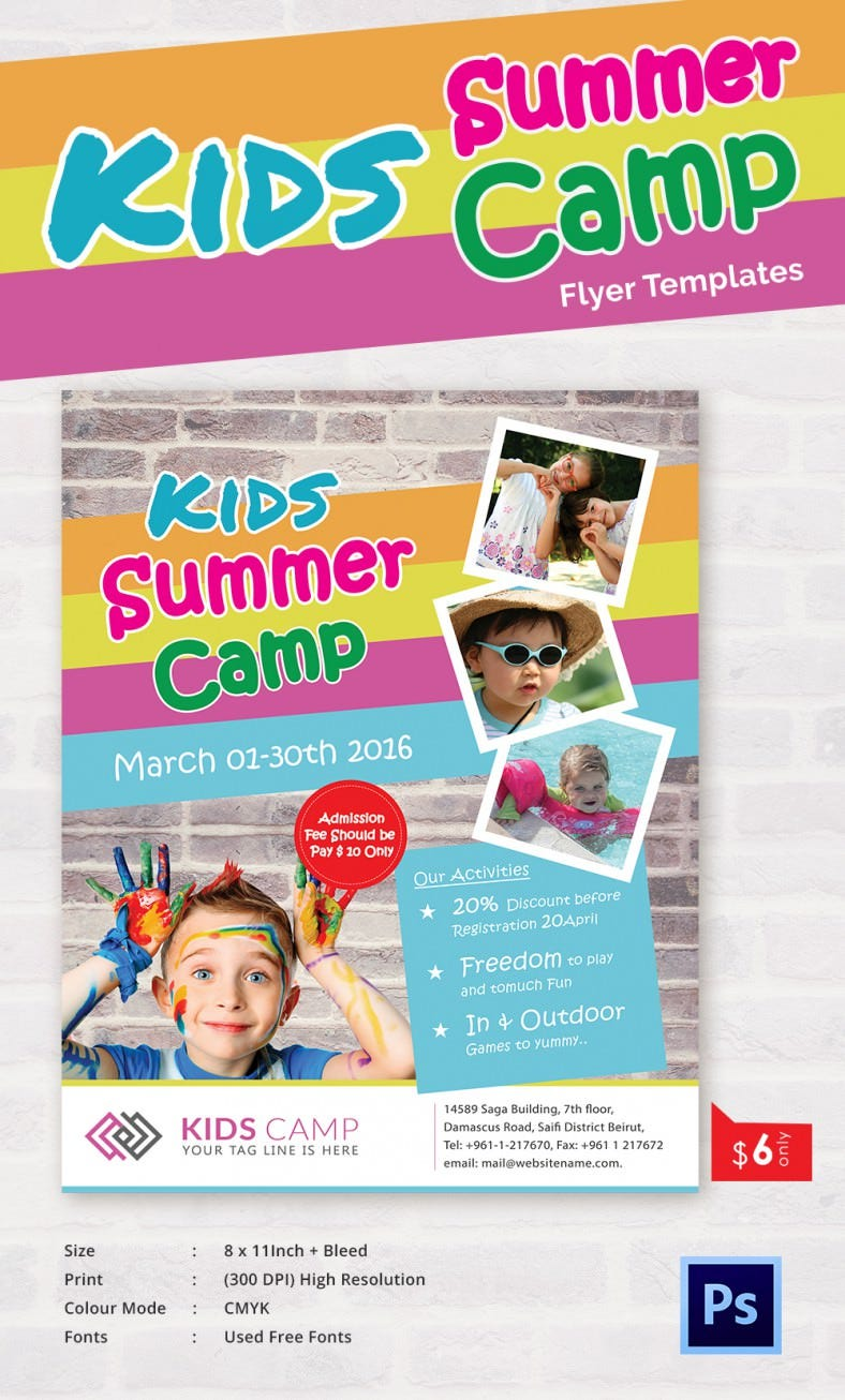Summer camp flyer templates 47 free jpg psd esi for Free brochure templates for kids