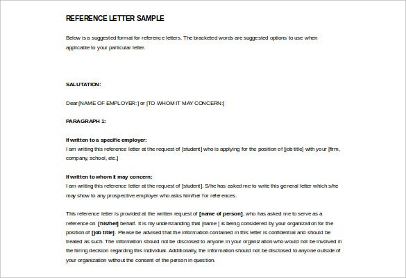 Reference Letter Sample Format - Resume Templates