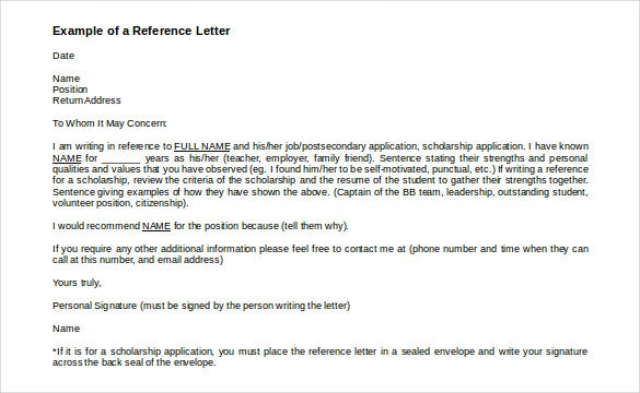 Example Of A Reference Letter Template  Format For Letter Of Reference