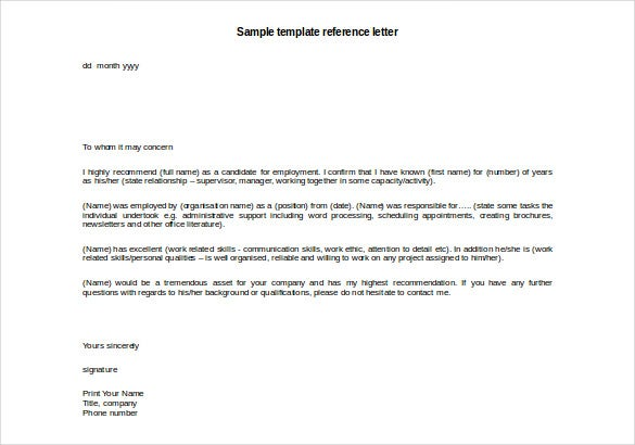 Sample reference letters yeniscale sample reference letters expocarfo Image collections