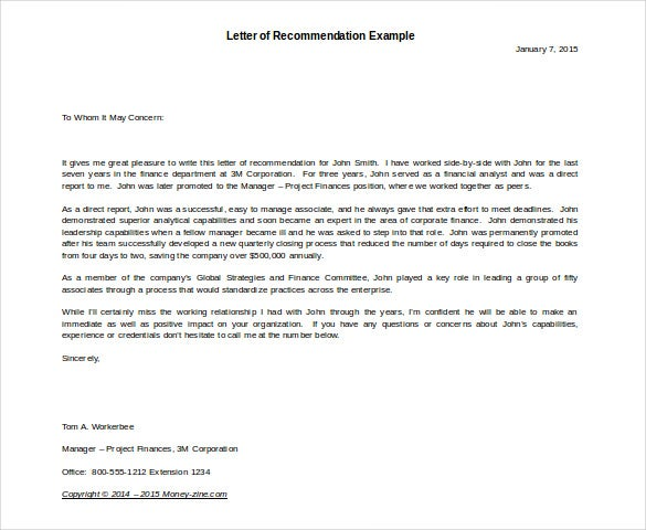 Letter Of Recommendation Example Template  Format Letter Of Reference