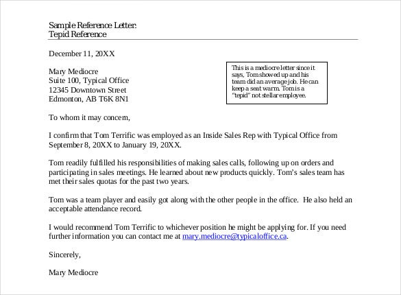 Reference Letter Template Free Sample Template  Format Of Recommendation Letter From Employer