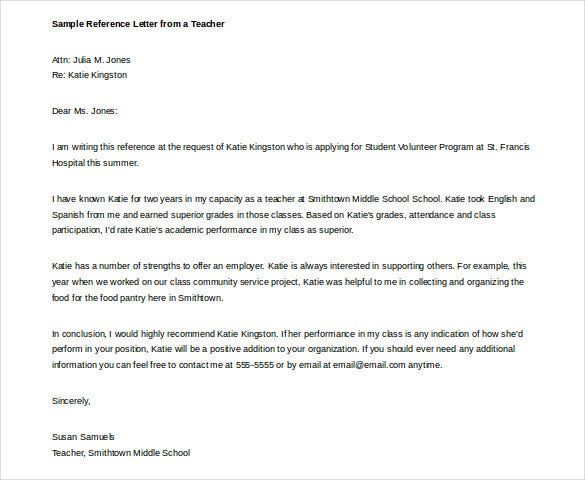sample reference letter from a teacher doc template