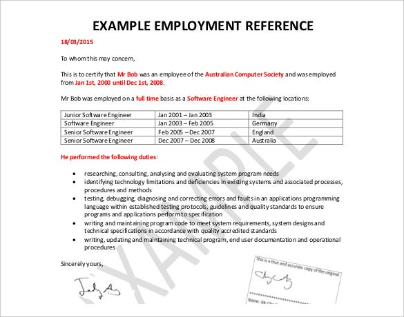 Example Employment Reference Free Template  Employment Letter Of Reference