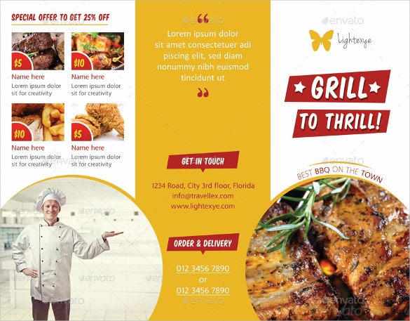 bbq menu tri fold template download