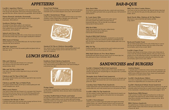lucilles bbq menu template download