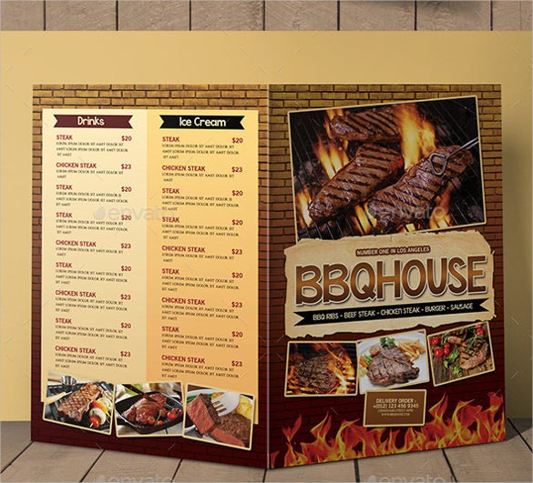 bbq steak menu bifold template