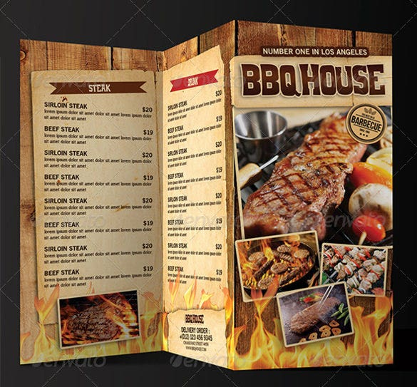 trifold bbq steak menu template