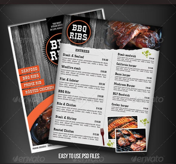 bbq restaurant menu flyer template download